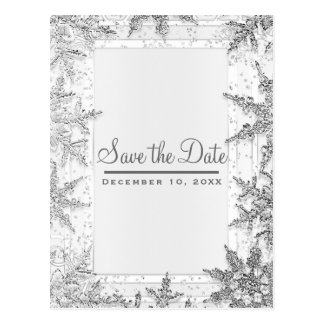 White & Silver Winter Snowflakes Save the Date Postcard