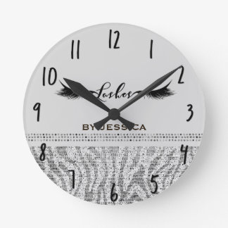 White Silver Zebra Sequins Lashes Personalized Round Clock