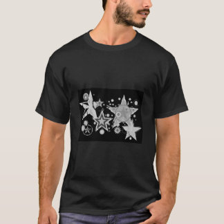 White & Silvery Stars / Black, design template T-Shirt
