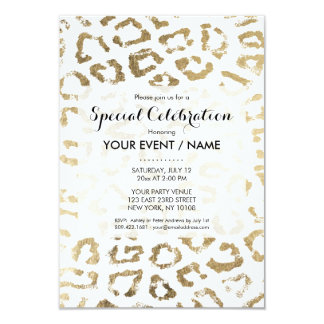 White simple chic faux gold modern animal print card