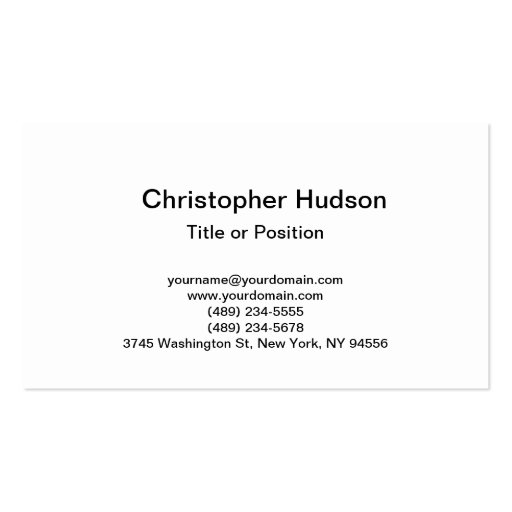 White Simple Plain Business Card