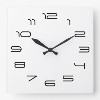 White simplicity square wall clock