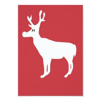 """White Single Reindeer Invitation 5"""" X 7"""" Invitation Card"""