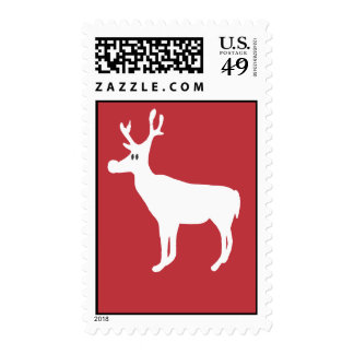 White Single Reindeer Postage