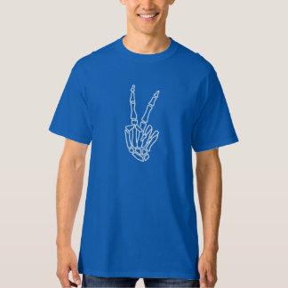 White skeleton hand peace sign T-Shirt