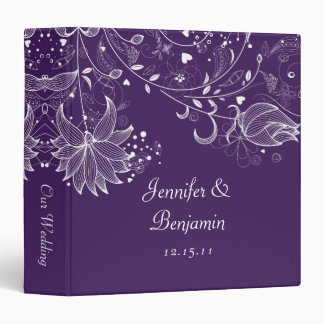 White Sketched Flowers on Dark Purple Photo Album 3 Ring Binder