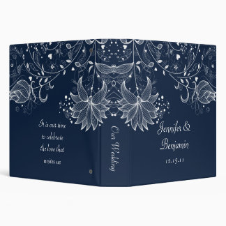 White Sketched Flowers on Navy Wedding Album 3 Ring Binder