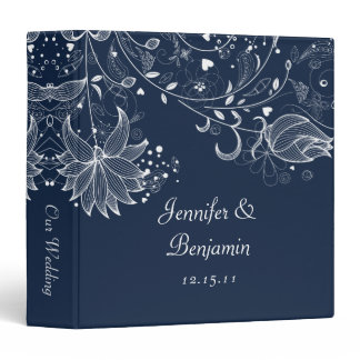 White Sketched Flowers on Navy Wedding Album 3 Ring Binder
