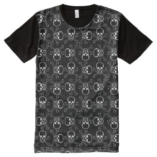 White Skull and Crossbones graphic Pattern All-Over Print Shirt