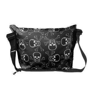 White Skull and Crossbones graphic Pattern Courier Bag