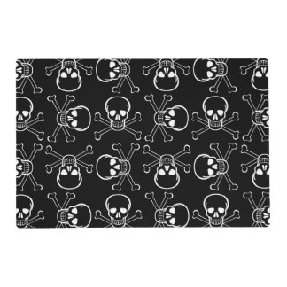 White Skull and Crossbones graphic Pattern Placemat