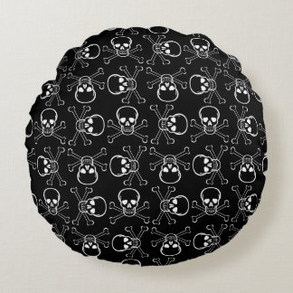 White Skull and Crossbones Round Pillow