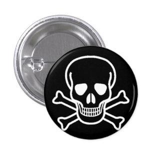White Skull Black Round Button