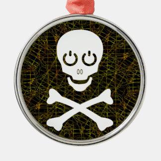 White Skull & Crossbones Over Wire Mesh Metal Ornament