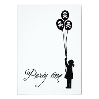 White - Skull & Crossbones Party Time Balloon Girl Card