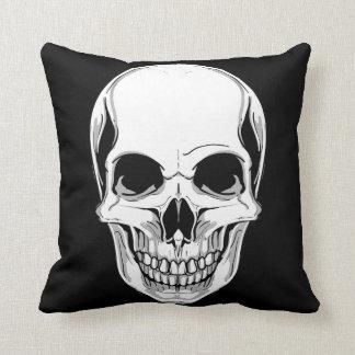 White Skull Front & Green Skull on Back Throw Pillow