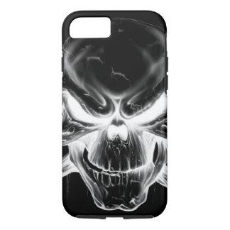 white skull head on black background iPhone 7 case