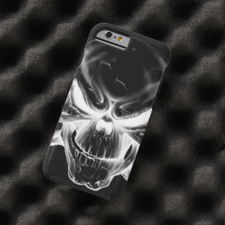 white skull head on black background tough iPhone 6 case