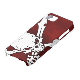 white skull head with cross bones on red backgroun iPhone SE/5/5s case