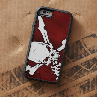 white skull head with cross bones on red backgroun tough xtreme iPhone 6 case