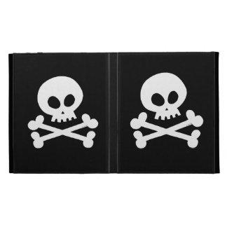 white skull iPad folio case