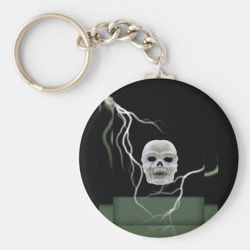 White Skull on Black Lightening Bolts Halloween Basic Round Button Keychain