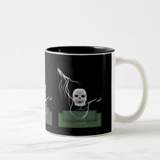 White Skull on Black Lightening Bolts Halloween Two-Tone Coffee Mug