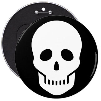 white skull - ☠ pinback button