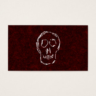 White Skull Sketch. On Red and Black. Business Card