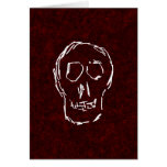White Skull Sketch. On Red and Black. Stationery Note Card