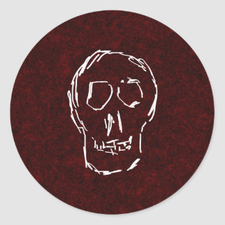 White Skull Sketch. On Red and Black. Classic Round Sticker