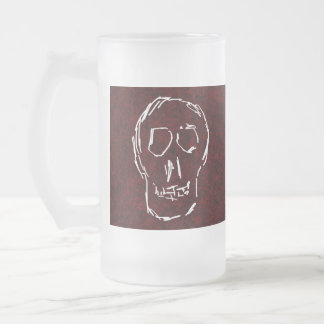 White Skull Sketch. On Red and Black. Frosted Glass Beer Mug