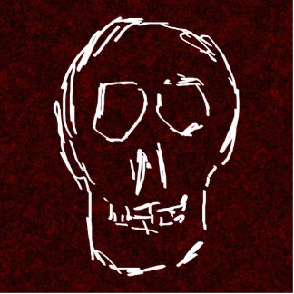 White Skull Sketch. On Red and Black. Photo Sculpture Button