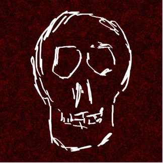 White Skull Sketch. On Red and Black. Standing Photo Sculpture