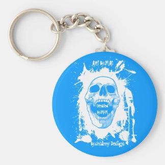 White Skull Splatter Basic Button Keychain in Ligh