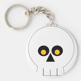 White Skull With Yellow Eyes Basic Round Button Keychain
