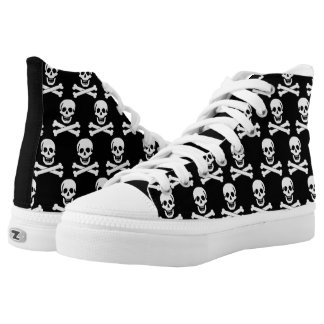White Skulls on Black Background High-Top Sneakers