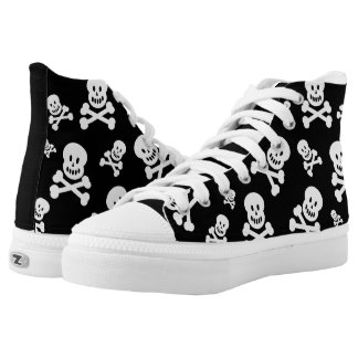 White Skulls on Black High-Top Sneakers