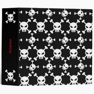 White Skulls Patterned Binder