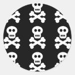 White Skulls Round Stickers