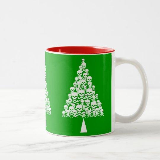 White Skully Xmas Tree Two-Tone Coffee Mug