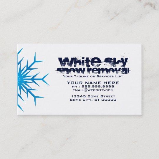 White Sky Snow Removal Business Card Zazzle