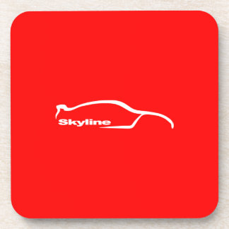 White Skyline GT-R Silhouette with Red Background Beverage Coaster