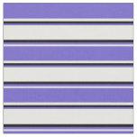 [ Thumbnail: White, Slate Blue & Black Striped Pattern Fabric ]