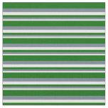 [ Thumbnail: White, Slate Gray & Dark Green Stripes Fabric ]