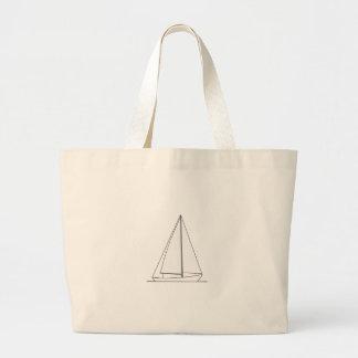 White Sloop Sailboat Tote Bags