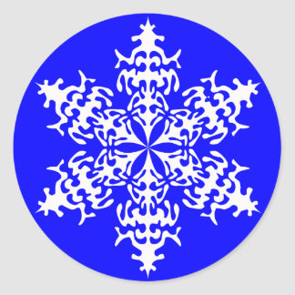 White Slowflakes Ice Crystals Classic Round Sticker