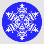 White Slowflakes Ice Crystals Round Stickers