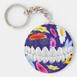 White Smile Flower Design Dentist Keychain