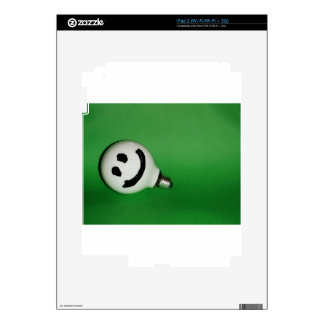 White smiling bulb on green background iPad 2 decal